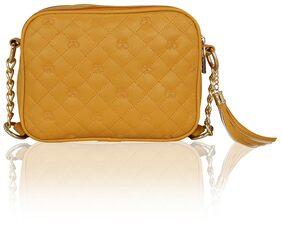 Kleio Women Solid Pu - Sling Bag Yellow