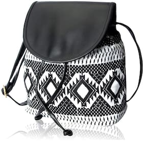 Kleio Women Printed Canvas - Sling Bag Black