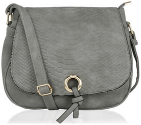 Kleio Grey PU Solid Sling Bag
