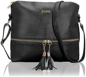 Kleio Black PU Solid Crossbody Bag
