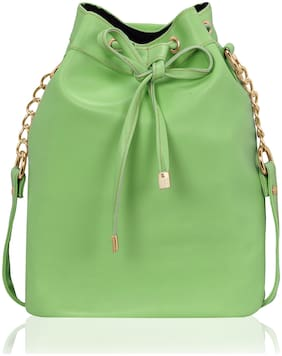 Kleio Green PU Solid Sling Bag