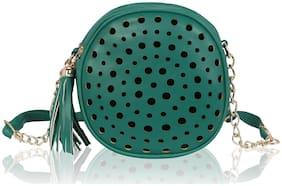 Kleio Green PU Printed Sling Bag