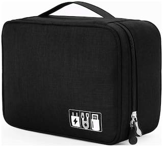 KridhaCart Electronics Accessories Organizer Bag, Universal Carry Travel Gadget Bag for Cables, Plug and More, Perfect Size Fits for Pad Phone Charger Hard Disk - Black  (Black)