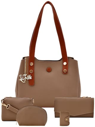 La Fille Beige Faux Leather Handheld Bag