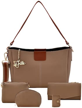 La Fille Beige Faux Leather Handheld Bag