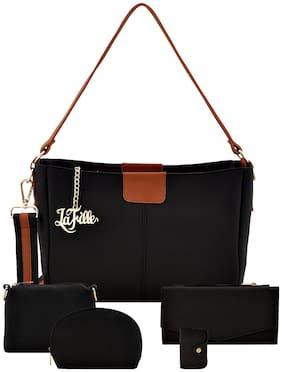 La Fille Black Faux Leather Handheld Bag