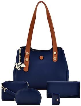 La Fille Blue Faux Leather Handheld Bag