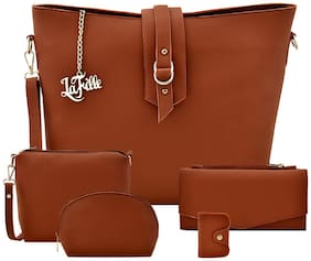 La Fille Tan Faux Leather Handheld Bag