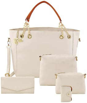 La Fille White Faux Leather Shoulder Bag