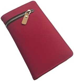 SAW LEATHER GOODS Women Solid Faux Leather - Clutch Pink