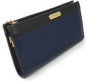 LADONNA Women's premium faux leather wallet 6 Credit Card Holder 2 zipper 1 Cash pocket 2 big compartments Navy Blue
