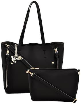 La Fille Black PU Handheld Bag