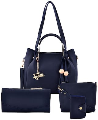 La Fille Blue PU Handheld Bag