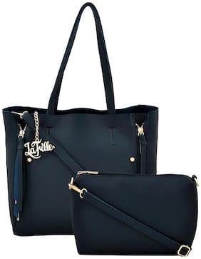 La Fille Blue PU Shoulder Bag