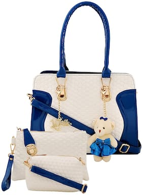 La Fille Blue PU Handheld Bag