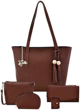 La Fille Brown Faux Leather Handheld Bag