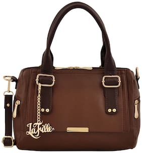 La Fille Brown PU Handheld Bag