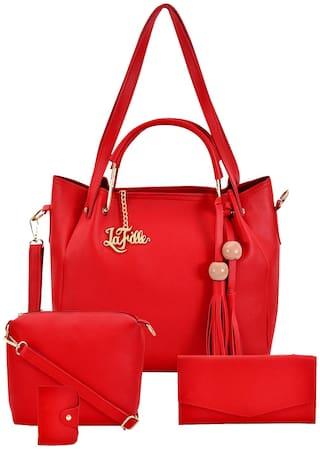 La Fille Maroon PU Handheld Bag