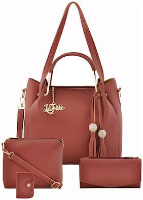 La Fille Pink PU Handheld Bag