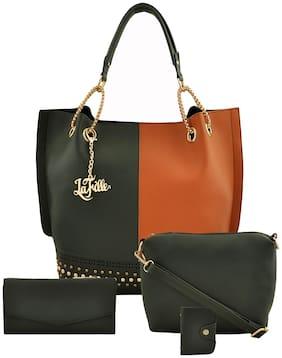 La Fille Green & Brown PU Handheld Bag
