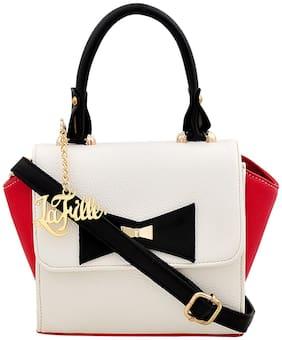 La Fille Red Faux Leather Handheld Bag