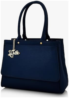 La Fille Blue Faux Leather Handheld Bag