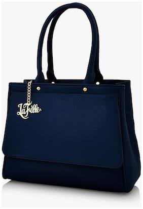 e90e0bb62c La Fille Women Faux Leather 1 Handheld Bag - Blue