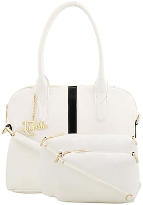 La Fille White Faux Leather Handheld Bag