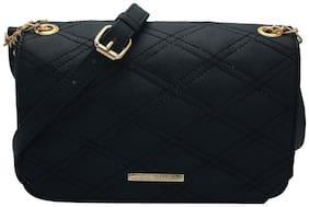 Lapis O Lupo Women Solid PU - Sling Bag Black
