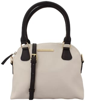 Lapis O Lupo White Faux Leather Handheld Bag
