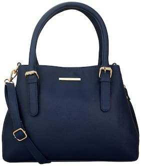 Lapis O Lupo Blue Faux Leather Handheld Bag