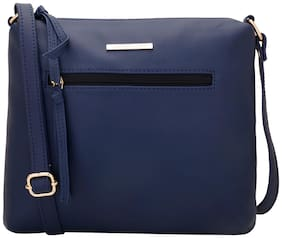 Lapis O Lupo Women Solid PU - Sling Bag Blue