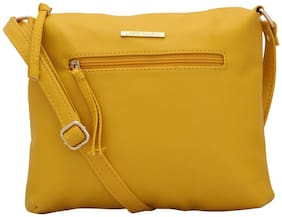Lapis O Lupo Women Solid Faux Leather - Sling Bag Yellow