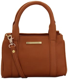 Lapis O Lupo Tan Faux Leather Handheld Bag