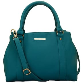 Lapis O Lupo Green Faux Leather Handheld Bag