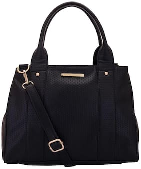 Lapis O Lupo Black Faux Leather Handheld Bag