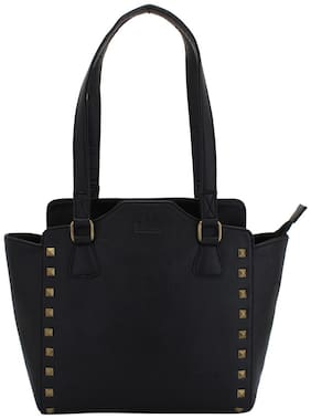 Lapis O Lupo Faux Leather Women Handheld Bag - Black