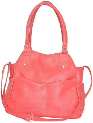 Tulip Peach & Pink PU Shoulder Bag