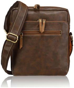 Laurels Brown Leather Messenger bag