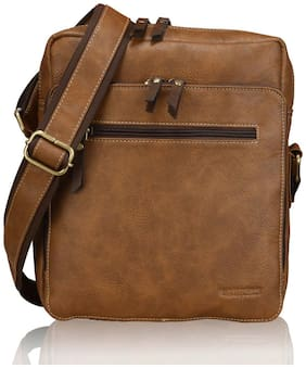 Laurels Beige Leather Messenger bag