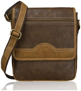 Laurels Brown Synthetic Messenger bag