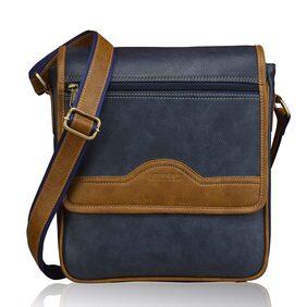 Laurels Leather Men Messenger Bag - Blue