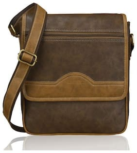 Laurels Brown Synthetic Messenger bag