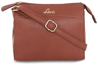 105bfd9f3dc Buy LAVIE Women Solid Faux Leather - Sling Bag Brown Online at Low ...