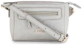 LAVIE Grey PU Solid Sling Bag