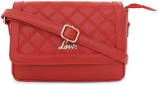 LAVIE Red PU Striped Sling Bag