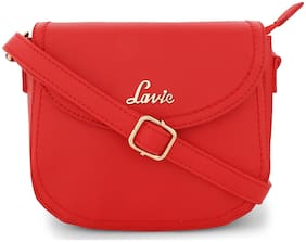 LAVIE Red PU Solid Sling Bag