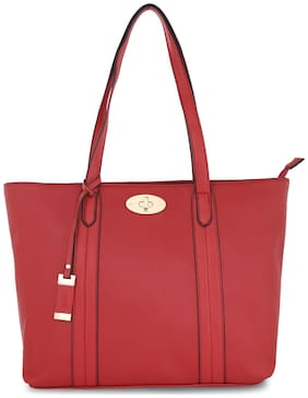 LAVIE Women Solid Faux Leather - Tote Bag Red