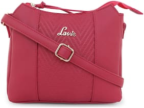 LAVIE Pink PU Solid Sling Bag