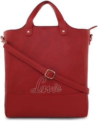 LAVIE Regular Solid Totes Red